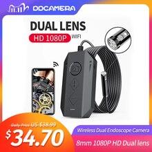 كاميرا المنظار اللاسلكية المزدوجة واي فاي 8 مللي متر 1080P HD Borescope التفتيش كاميرا آيفون أندرويد 2MP ثعبان كاميرا لفحص