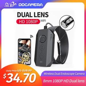 Image 1 - Cámara endoscópica Dual inalámbrica, WiFi, 8mm, 1080P, HD, boroscopio, inspección, para iPhone, Android, cámara serpiente de 2MP para inspeccionar