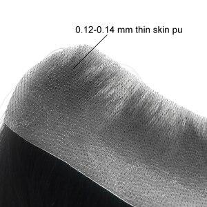 Для Мужчинs волосяного покрова накладки из искусственных волос V петли бразильский Реми человеческие волосы парик 0,12-0,14 мм тонкая кожа Для ...