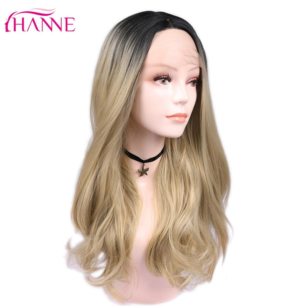 HANNE Blonde  Pink/Blonde Ombre Wig Long Wavy Heat Resistant Fiber Synthetic Hair Wig Lace Front Wigs For Black/White Woman