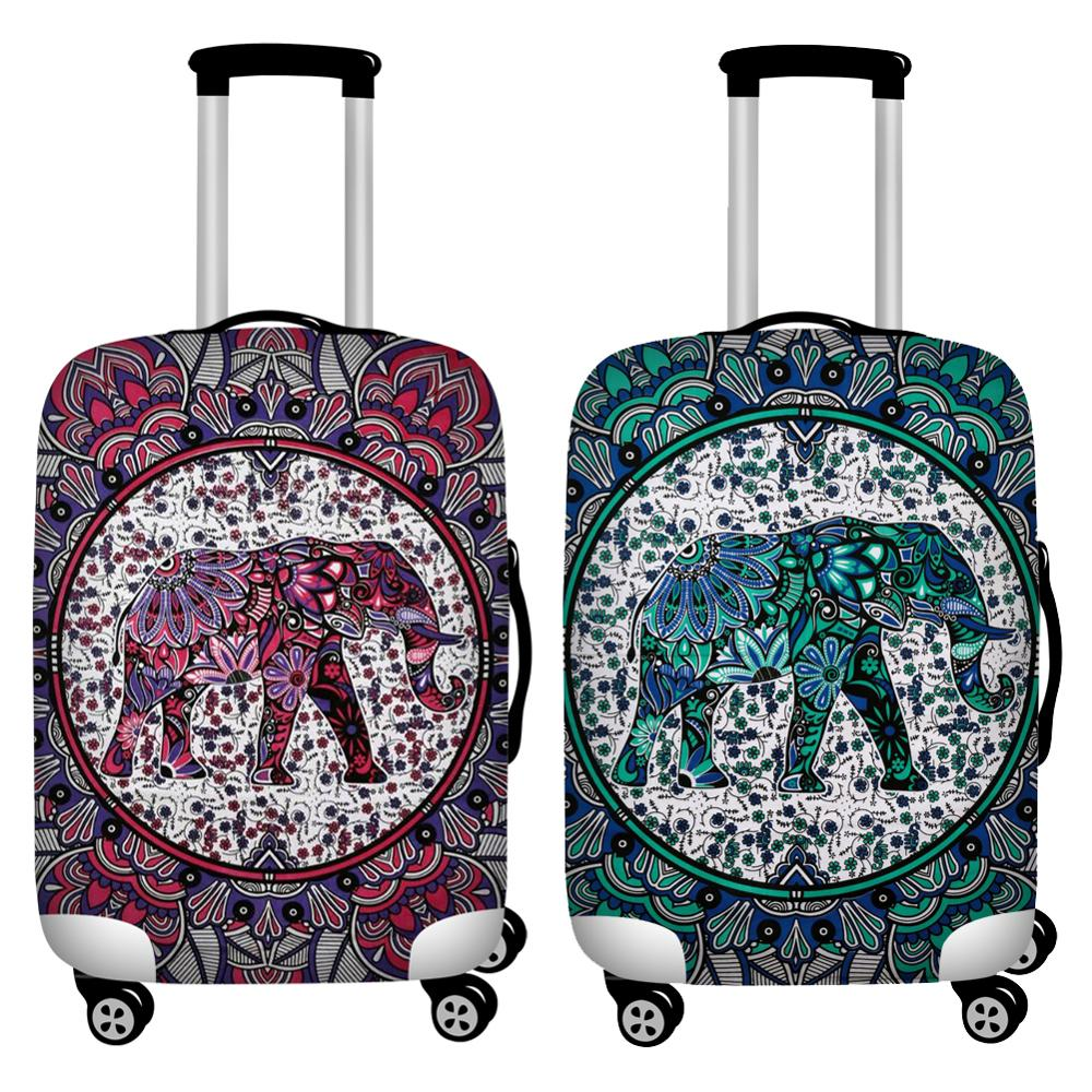 Suitcase Protective Covers Elastic Mandala Elephant Print Travel Lugggage Cover Waterproof 18-32inch Baggage Dust Covers Zipper