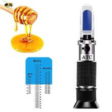 Honig Refraktometer für Honig Feuchtigkeit, Brix und Baume, 3-in-1 Verwendet, 58-90% Brix Skala Palette Honig Feuchtigkeit Tester mit ATC