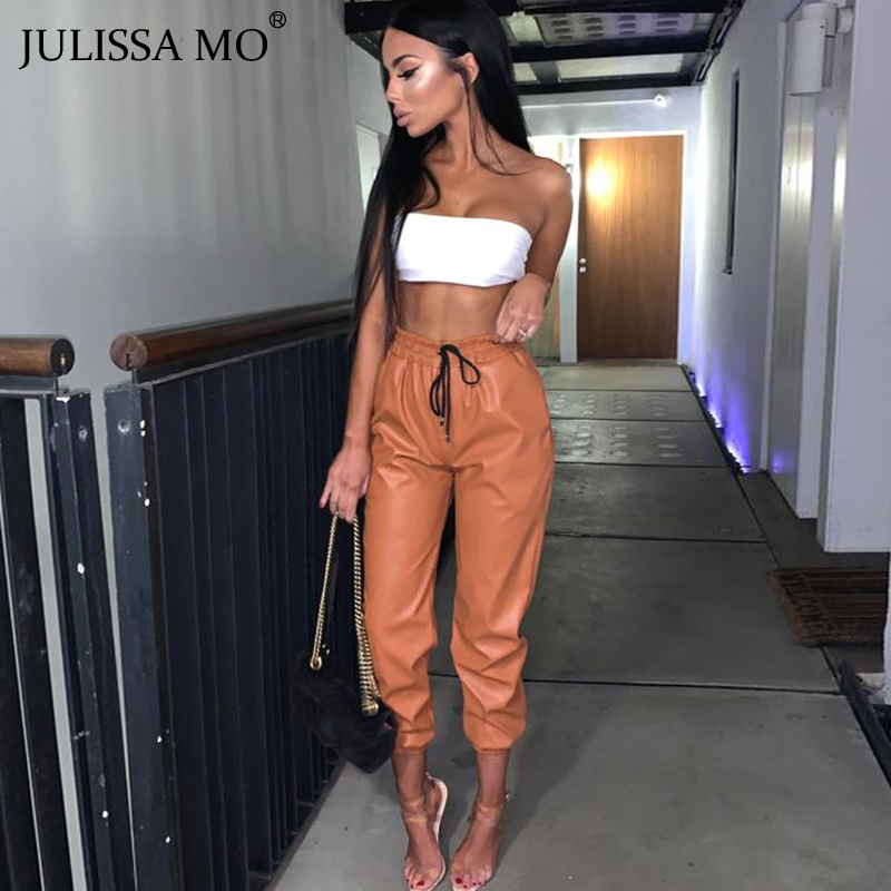 JULISSA MO Black PU Leather Harem Pants For Women High Waist Elastic Fur Faux Pant Autumn Winter Casual Streetwear Trousers
