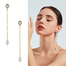 Fashion Simple Cross Dangle Earrings Natural Freshwater Pearl Drop For Wedding Party Gift