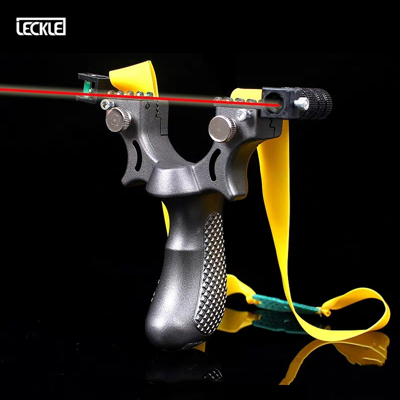 Hunting Resin Slingshot With Laser Light Sight Level With Flat Rubber Band Powerful Sling Shot Bow Outdoor Hunting Shooting