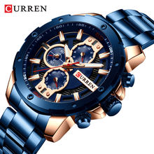 CURREN 8336 Pria Chronograph Kuarsa Watch Biru Date Watch Stainless Steel Tali Bisnis Tahan Air Modis Jam Relojes(China)