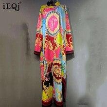IEQJ mujeres camisero cuello de solapa de manga larga asimétrico bajo ancho de impresión de moda sobre la rodilla Elegante Verano de 2021 8P725