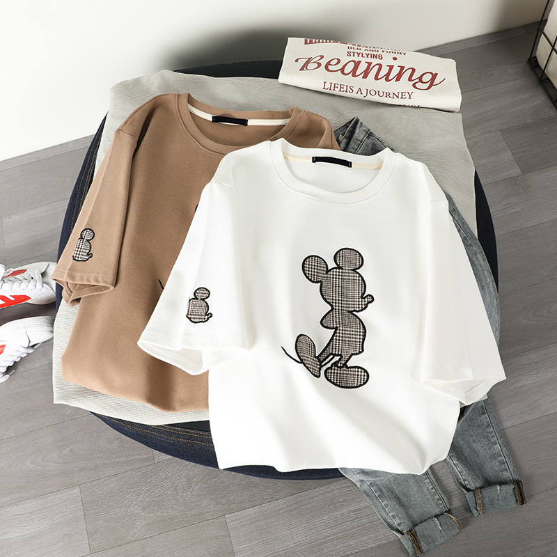 2020 Summer Cotton Clothes for Women T Shirt Harajuku Vintage Mickey Print Casual Gothic White Pink Short Sleeve Tops Ropa Mujer(China)