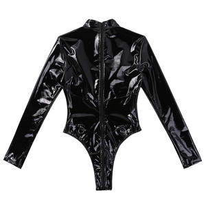 Image 5 - Womens Lingerie Latex Catsuit Bodysuit Wetlook Patent Leather Sex Costume High Collar High Cut Zipper Sheer Leotard Bodysuit
