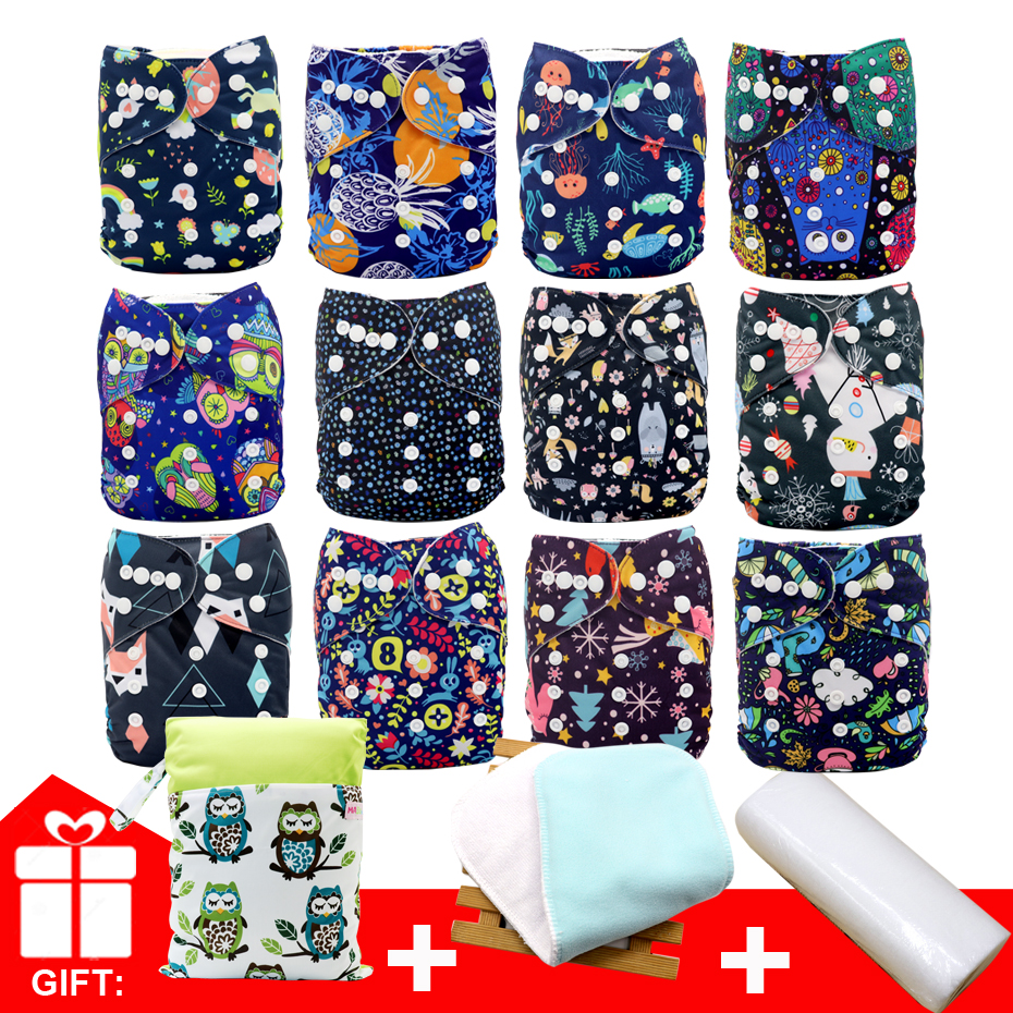 MABOJ Cloth Diaper Set 12pcs Baby Cloth Diapers One Size Adjustable Washable Reusable Cloth Nappy For Baby Girls And Boys