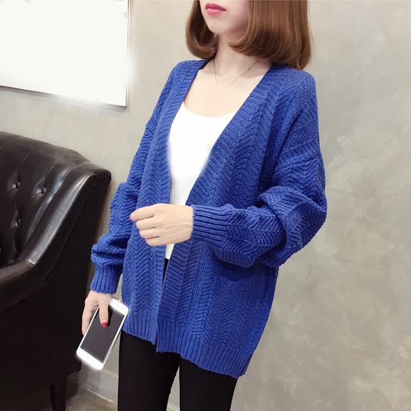 Nice Spring Autumn Women Knitted Sweater Long Sleeve Loose Cardigans Coat Solid Female V-Neck Casual Coat