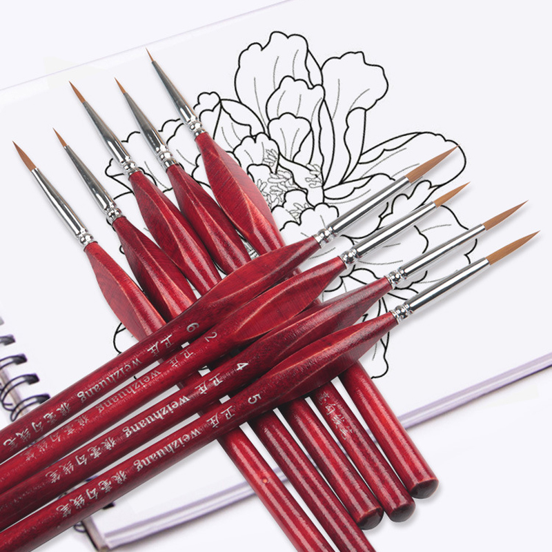 6Pcs/Set Nylon Hair Painting Brush Painting By Numbers Tool Brushes Watercolor Gouache Paint Brushes Different Shape Round Tip
