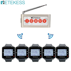 Retekess restaurante sistema de chamada sem fio cozinha chamada garçom 5pcs wtach receptor + cinco teclas botão chamada restaurante equipamentos