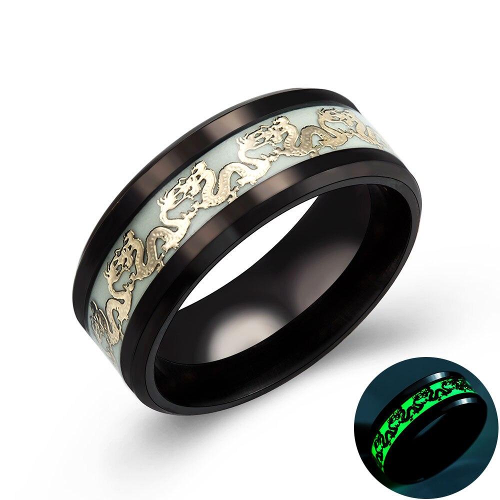 Anneau plaqué lumineux Dragon doré foncé incrustation fond vert mode hommes anneaux lumineux fluorescents 13