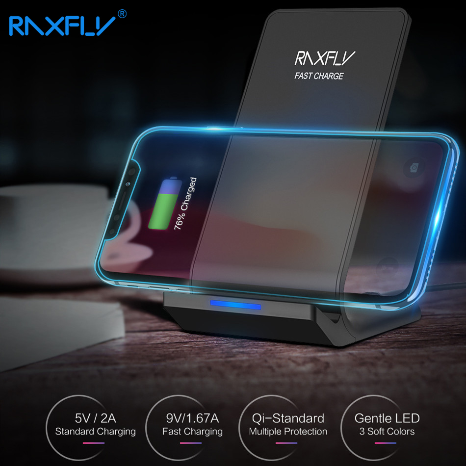 RAXFLY Wireless Charger For iPhone XS Max XR XS X 8 10W Qi Fast Charger For Samsung S10 S9 S8 Plus S7 S6 Note 9 8 Charging Fast-in Mobile Phone Chargers from Cellphones & Telecommunications