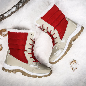 Image 3 - WDZKN 2019 Winter Warm Shoes Women Snow Boots Thick Plush Mid Calf Flat Boots Female Botas Mujer Waterproof Winter Women Boots