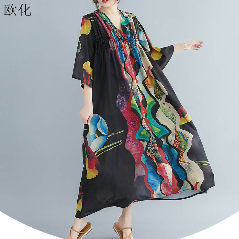 New Arrival 2020 Summer New Women Dress Oversize Batwing Sleeve Art Printed Boho Dresses Plus Size 4XL 5XL 6XL Cotton Maxi Dress