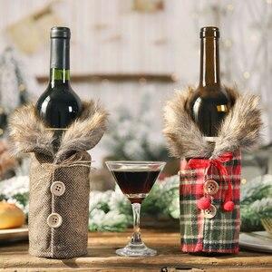 Image 5 - 2021 presente de ano novo papai noel garrafa de vinho capa poeira natal decorações para casa navidad 2020 mesa jantar decoração