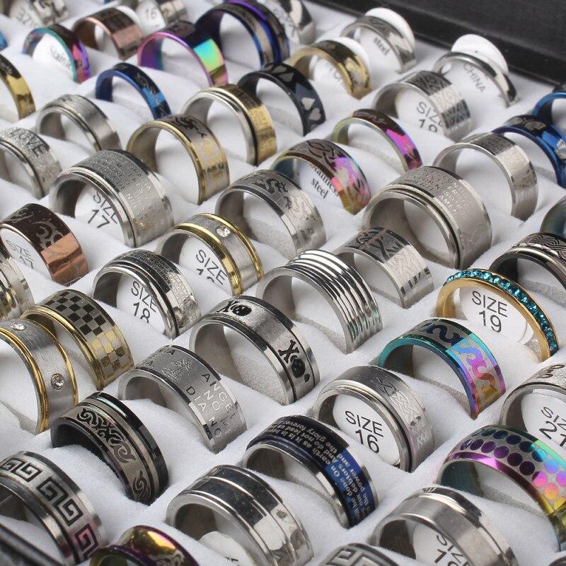 Ювелирные изделия из нержавеющей стали кольцо 100 шт./кор. геометрический дизайн ногтей в разных стилях для мужчин в стиле панк; Большие разме...