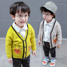 Baby Spring Knitted Cardigan Boys 1 2 3 4 5 Year Fashion Cartoon Sweater With Deer Children Autumn Crochet Yellow Beige