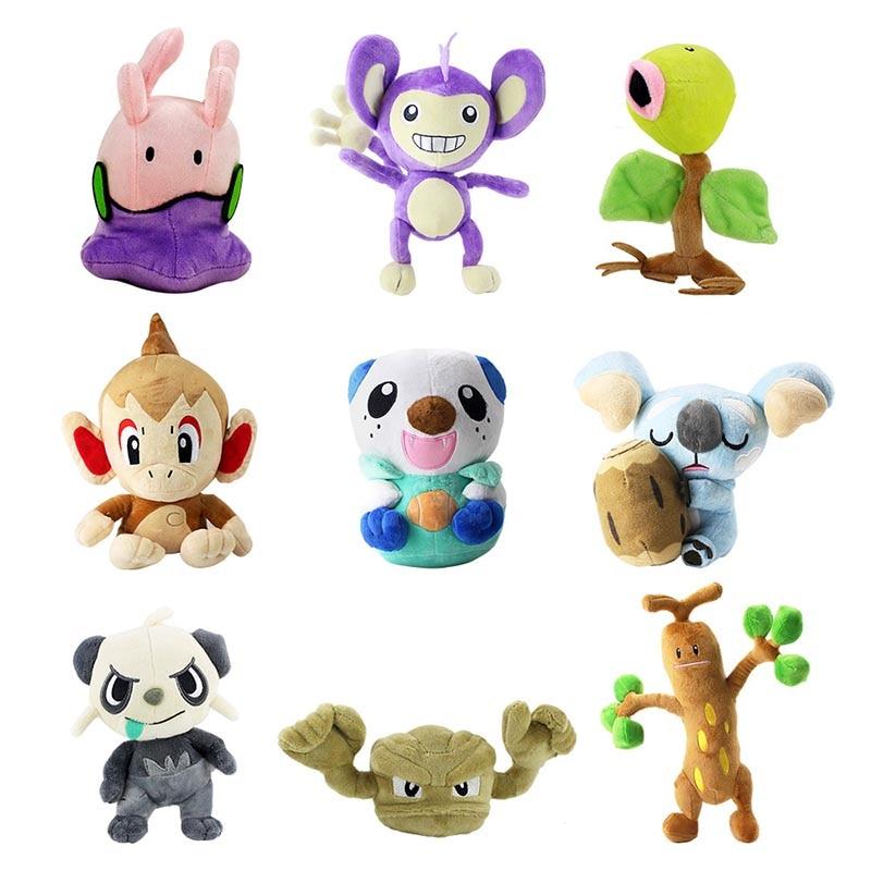 9Styles Cute Animal Plush Toy Bellsprout Goomy Sudowoodo Komala Oshawott Pancham Chimchar Geodude Aipom Soft Stuffed Dolls