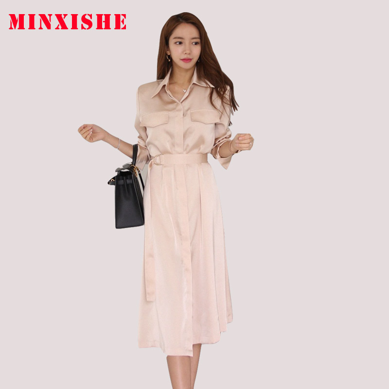 Women Autumn Sashes Band Long Sleeve Dress Turn down collar Single Button Wrap Maxi Dresses Solid Casual A line female Vestidos