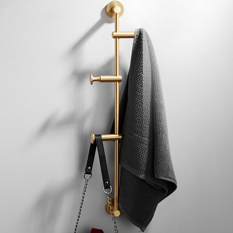 60cm Coat Rack Brass Cloth Hanger North European Wall Hook Bedroom Storage Cloth Holder Wall Shelf with Removable Hook Furniture