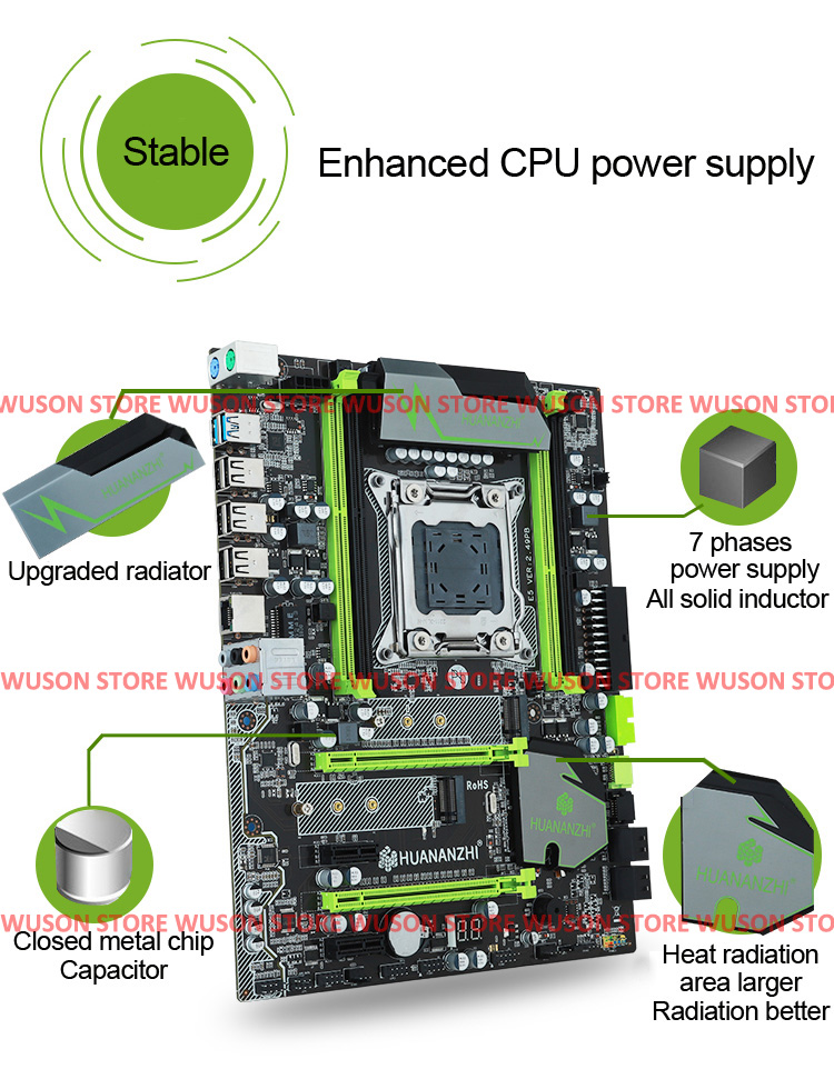 2018 hot sell Brand HUANAN ZHI X79 LGA2011 motherboard with M 2 slot CPU Xeon E5 2660 V2 SR1AB 2 2GHz RAM 16G 4 4G DDR3 REG ECC in Motherboards from Computer Office