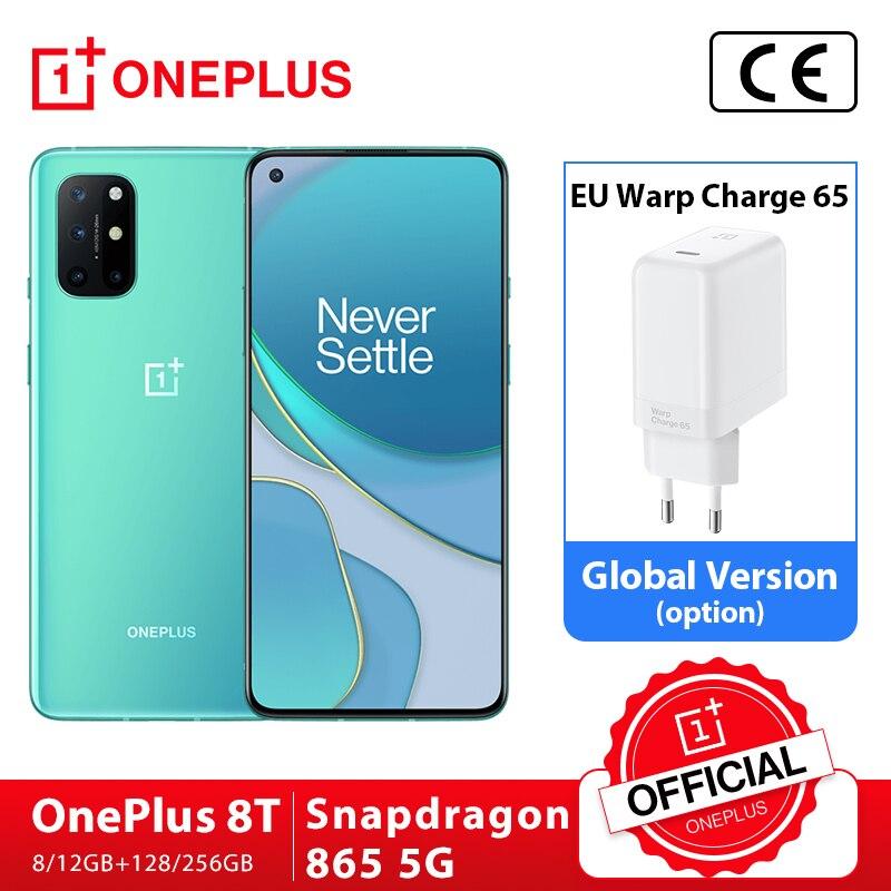 Küresel Rom OnePlus 8 T 8 T OnePlus resmi mağaza 8GB 128GB Snapdragon 865 5G Smartphone 120hz AMOLED sıvısı serigrafi 48MP Quad 65W