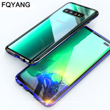 Metal Magnetic Protective phone case For Samsung Galaxy S10 5G S8 S9 PLUS S10LITE S10E NOTE8 NOTE9 Tempered Glass Back Cover