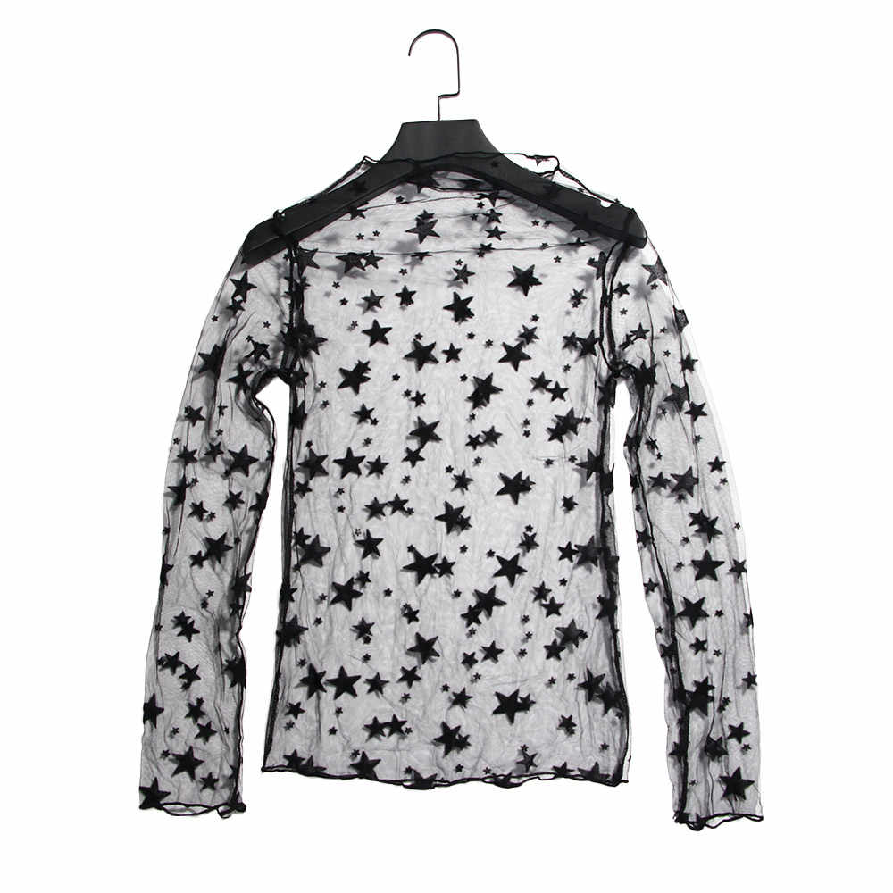 Sexy Zomer Transparante Zwarte Mesh Ster Kant Stand Hals Lange Mouwen Hollow Out Vrouw Casual Star Shirts Blouses Elegante Kleding