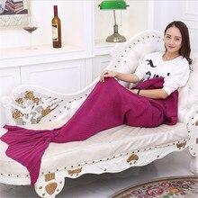Soft Knitted Mermaid Tail Blanket Crochet Handmade Sleeping Bag for Kids Adult Best Birthday Christmas Gift