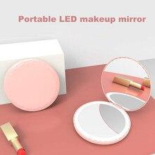 Menina coração hd espelho de maquiagem led espelho de maquiagem com lâmpada de carregamento led pequeno espelho feminino flip-top dobrável espelho