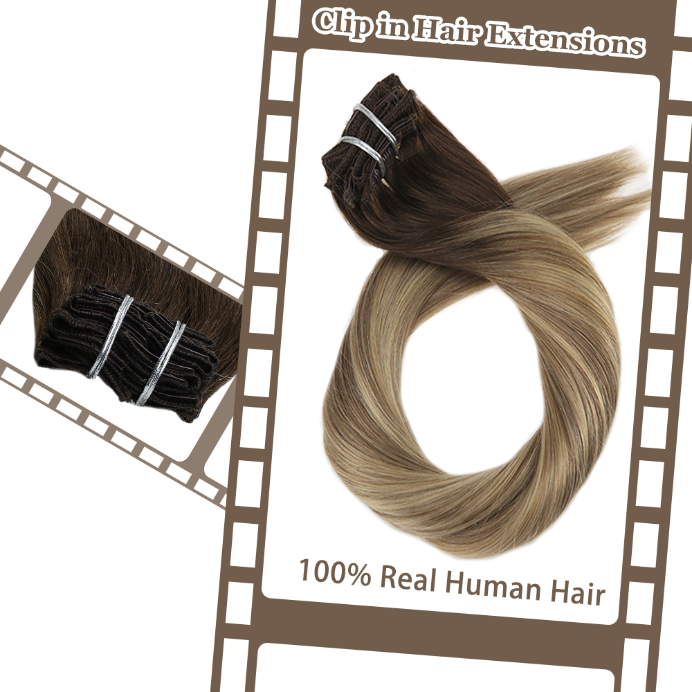 Moresoo 16-24 Inch Clip In Hair Extensions Machine Remy Human Hair Brazilian Hair Clip Ins Full Head Set Straight Hair 7Pcs 100G
