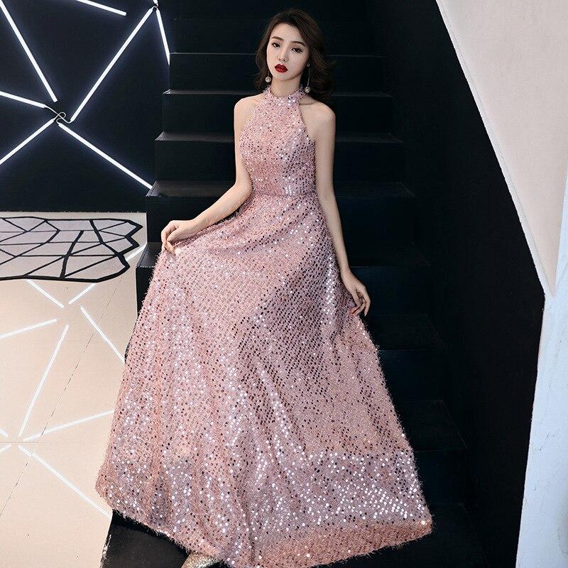 Pink Evening Gowns For Women Elegant A Line Halter Neck Sequined Brithday Party Dresses Vestidos De Fiesta De Noche ES30317