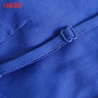 Tangada Fashion Blue Pleated Party Dresses For Women 2021 Backless Female Cotton Dress 3H600 3