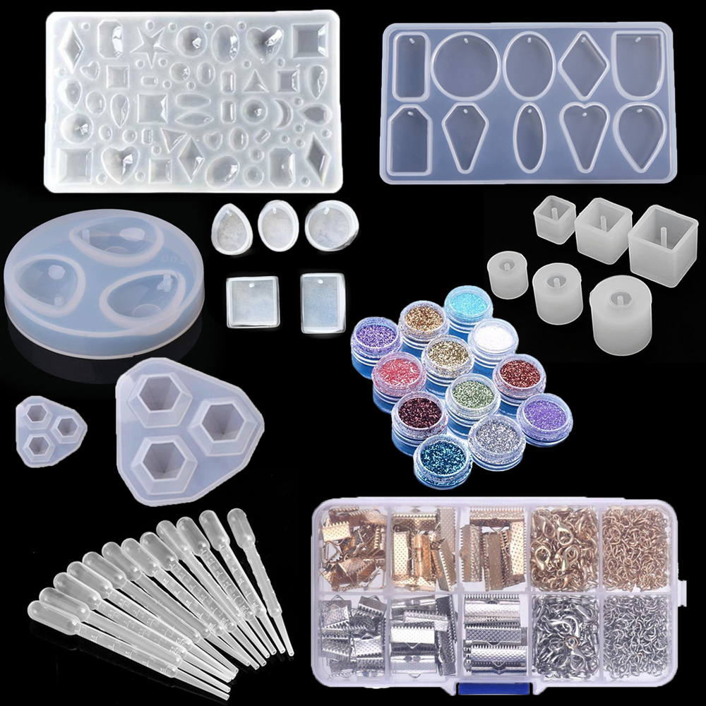 79 Pcs Geometric Resin Cabochons Molds Heart Round Oval Drop Shaped Silicone UV Mold Resin Pendant Jewelry Making DIY Tools Set