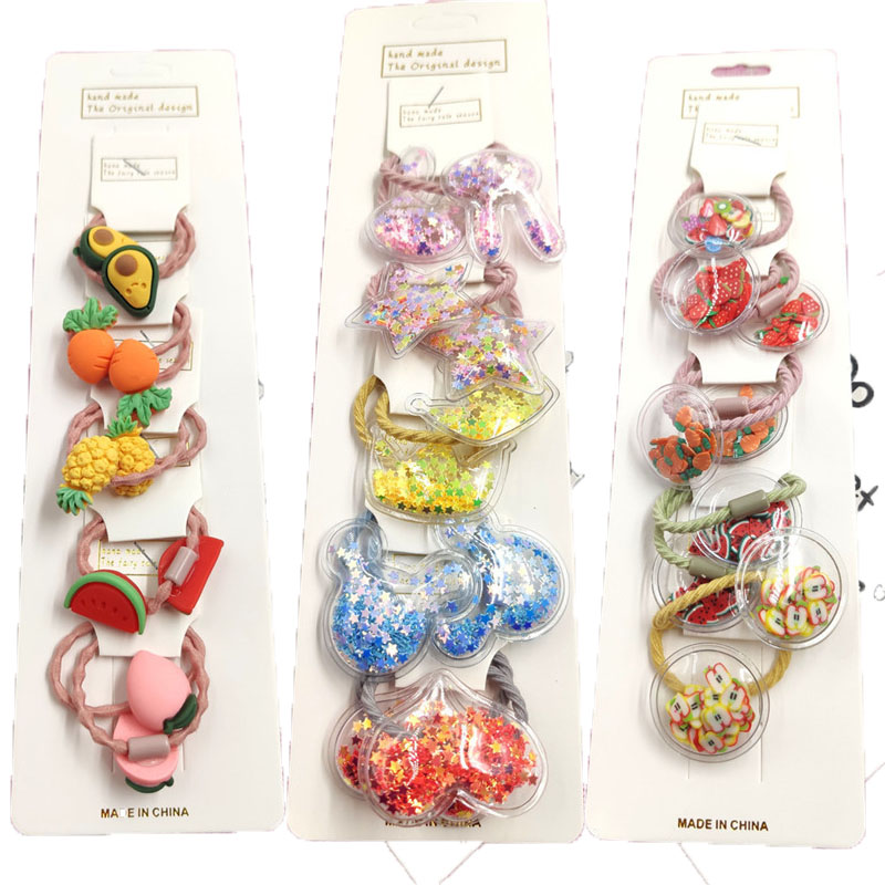 10PCS/LOT Lovely Fruits Hairball Star Elastic Hair Bands For Girls Handmade With Card Scrunchy Kids Hair Accessories For Women