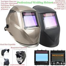 """Schweißen Maske Top Größe 100 x73mm (3,94 x2.87 """") top Optische Klasse 1111 4 Sensoren Schatten Palette 4(3) 13 Auto Verdunkelung Schweiß Helm"""