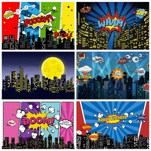 Vinyl Backdrop For Photography Baby Comic City Buildings Superhero Birthday Party Poster Kid Banner Photo Background Photostudio
