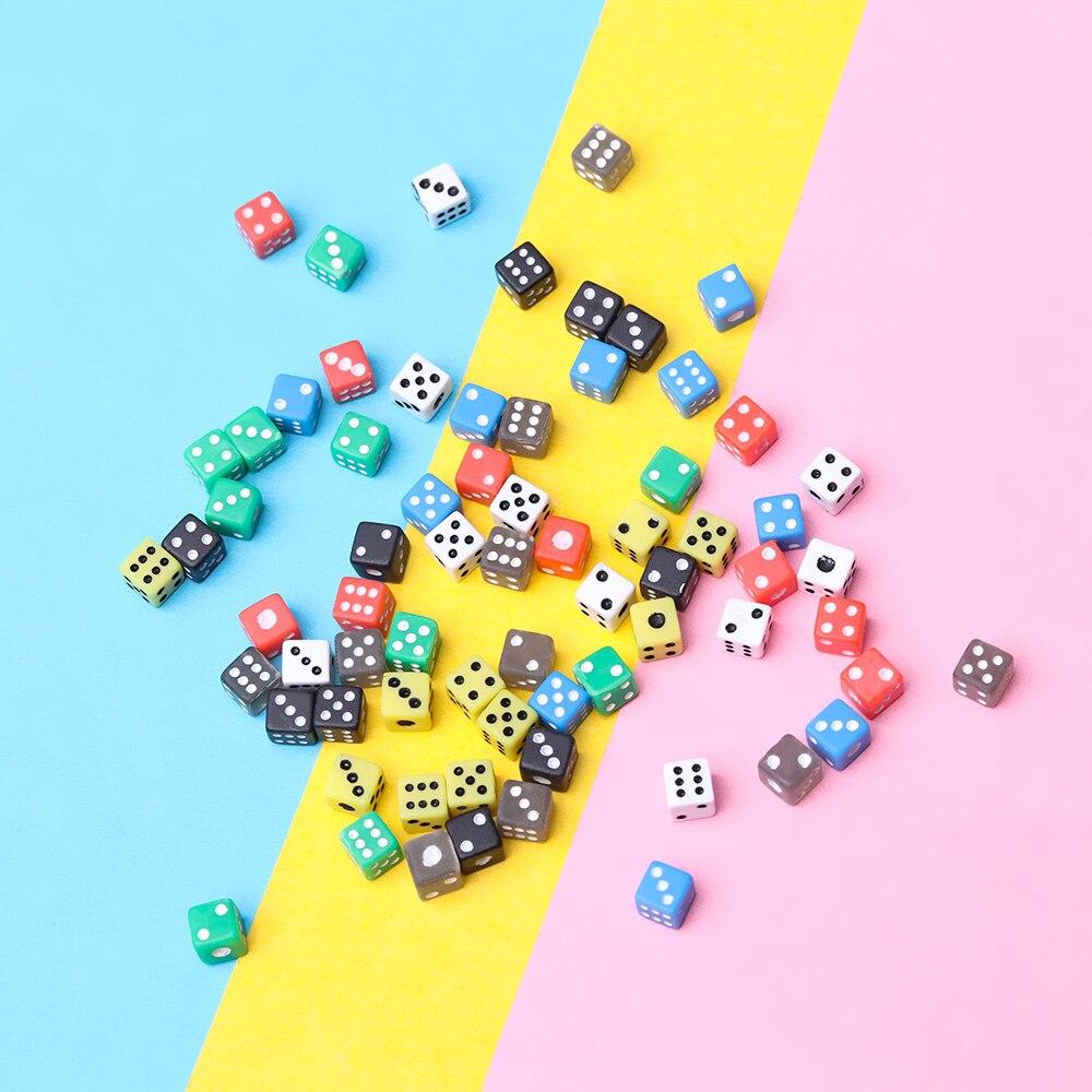50 штук/упаковка 6 двухсторонняя Портативный настольные игры в кости 5 мм акриловые круглые углу кубик для настольной игры вечерние азартные ...