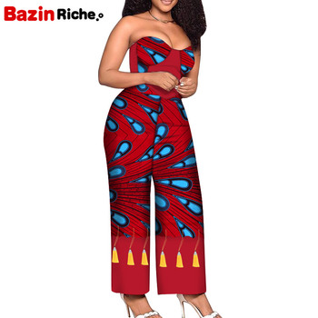 Strapless Jumpsuit with Gold Tassels Decoration Dashiki Fashion Patchwork African Women Summer Dresses Jumpsuit WY7456