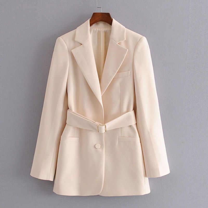 RR ネクタイベルトウエストブレザー女性ファッション固体ジャケット女性エレガントなポケットボタンスーツ女性 60HZ