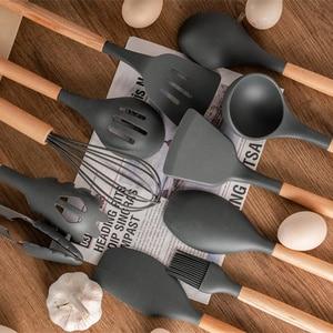 Image 5 - 12 Chiếc Ốp Tiện Dụng Bộ Nhà Bếp Đồ Dùng Nấu Ăn Bộ Tre Hộp Đựng Đồ Dùng Nhà Bếp Thìa Đũa Bộ Thìa Turner Đánh Lưỡi