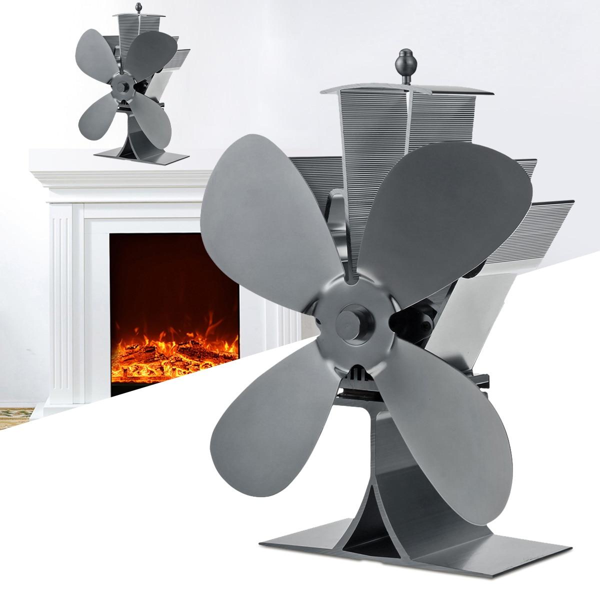 4 Blade Aluminum Fireplace Fan 1100rpm Quiet Heat Powered Stove Fan Wood Burning Eco-Friendly Efficient Heat Distribution