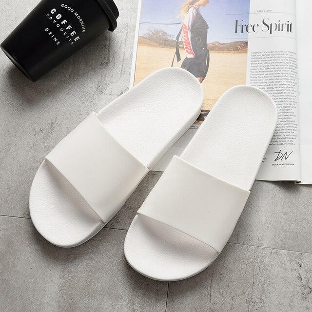 الصيف شبشب رجالي حذاء أبيض وأسود عادي عدم الانزلاق الشرائح الصنادل الحمام لينة وحيد الوجه يتخبط حجم كبير 47 رجل هدية 2