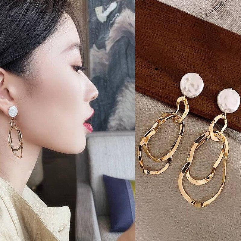 New Korean Fashion Silver Ear Needle Shell Pearl Irregular Geometric Earrings Minimalist Wind Small Fresh Wild Earrings Jewelry