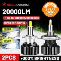 Bullvision Hir2 9012 Led 360 luces H7 H11 9005 de 9006 a 6000K de la lámpara del coche 20000Lm H8 H9 H1 hielo 8000K HB3 HB4 niebla bombillas Moto H4 CSP