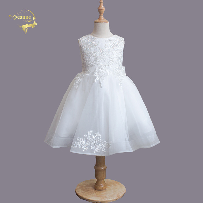 Cheap Vintage White   Flower     Girl     Dress   For Wedding Tea Length With Bow Holiday Princess   Dress   Photography Special Occasion   Dress
