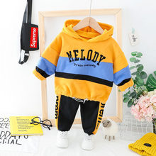 New Children's Winter Coloured Hooded Guard Trousers Baby Boy Girl Comfortable Furring Suit Two Piece Clothing Xmas Gift(China)